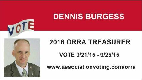 Vote DENNIS BURGESS 2016 ORRA Treasurer