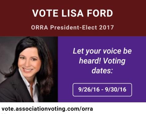 Vote Lisa Ford ORRA President-Elect